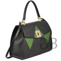 Строгая трехцветная сумка с клапаном Tosca Blu TF17OB221 nero-verde-grigio